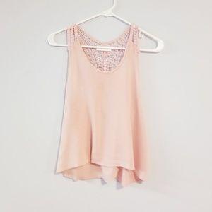 Blush pink lace tank
